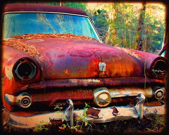 Miss Violet - Rusty Old Car - Ford - Fine Art Photograph by Kelly Warren