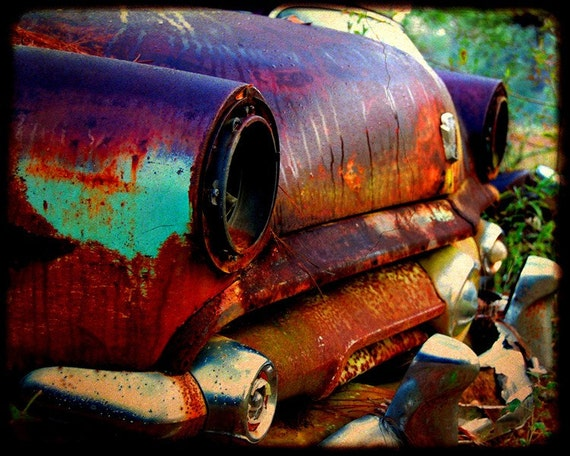 Miss Violet at the Starting Line - Rusty Car - Ford - Fine Art Photograph by Kelly Warren