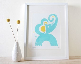 Elephant Screenprint, Jungle Art, Animal Print