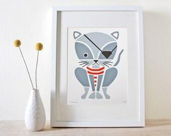 Pirate Kitty Screenprint, Nursery Art, Wall Art
