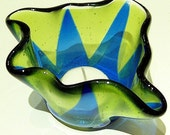 Fused Glass Candle Holder in Blue and Yellow/Green