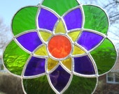 Green, Blue, Yellow and Orange Stained Glass Suncatcher