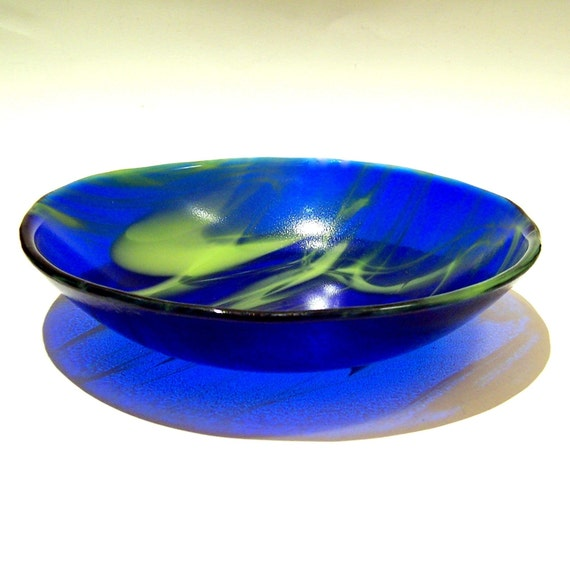 Fused Glass Bowl in Blue and Spring Green