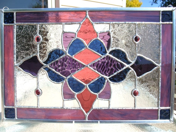Purples and Midnight Blue Stained Glass Panel