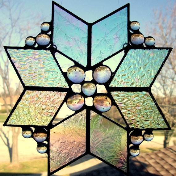 Iridescent Stained Glass Suncatcher