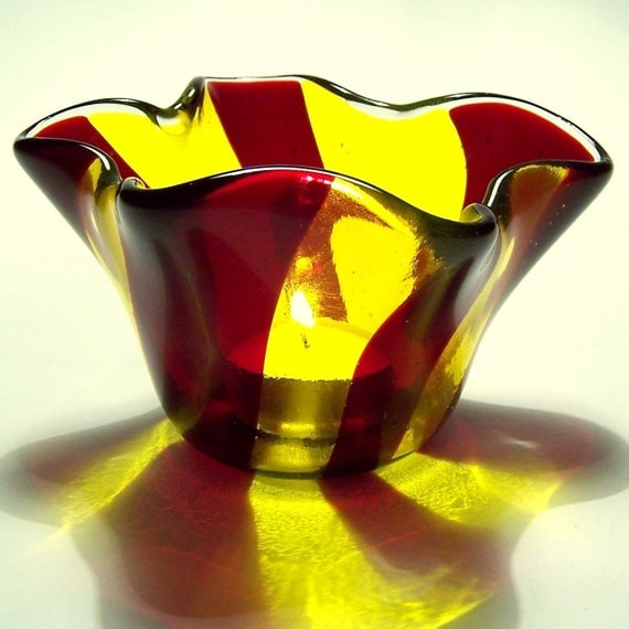 Swirled Fused Glass Candle Holder in Red and Yellow