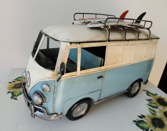 Vintage Metal Van Mini Bus Surfer Beach Boards