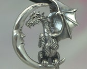 Lunar Dragon Pendant in Sterling Silver