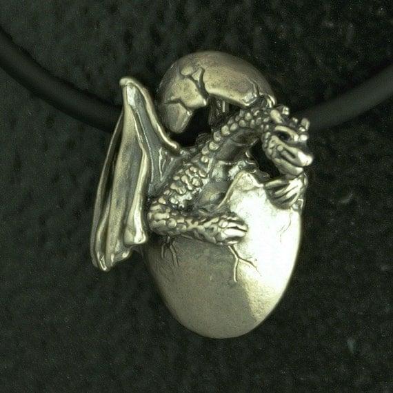 Dragon Hatchling Pendant in Sterling Silver