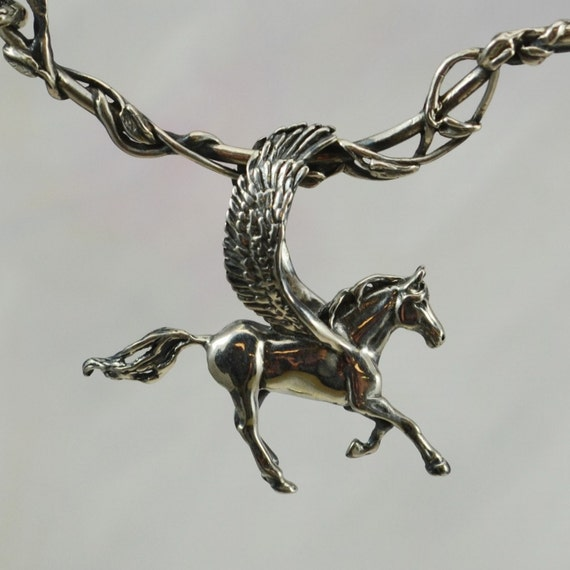 Pegasus Pendant and Vine Entwined Neck Wire in Sterling Silver