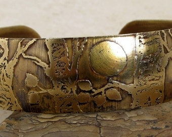 Aspen Trees and Moon Etched Brass Cuff Bracelet