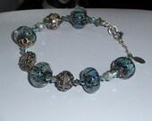 Blue Lampwork and Sterling Silver bracelet