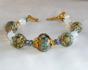 Bracelet with Artisan Handmade Lamp Work Beads, Gold and Silver