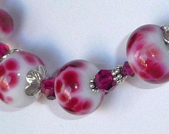 Cranberry Red Handmade Lamp Work Beads and Sterling Silver Necklace