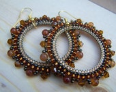 Amber Gloss - Beaded Hoop Earrings - Large