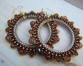 Amber Gloss - Beaded Hoop Earrings - Large