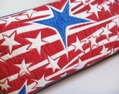 Pillow Red White and Blue Star Painted Pillow Quilted Cotton and Upcycled denim OOAK