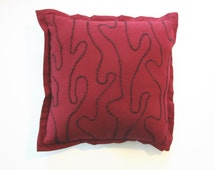 Toss Pillow - Red and Black - Organic Line Design - Small Red Cotton Pillow