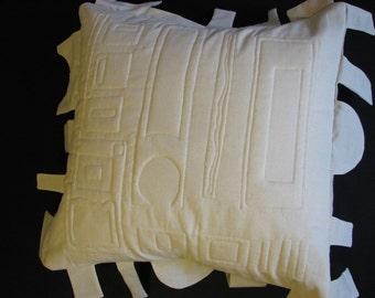 Modern Geometric Pillow Trapunto Quilted Natural Cotton Original Design OOAK