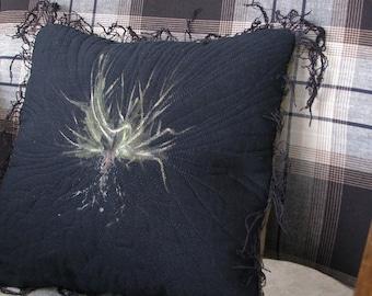 Pillow Black Monoprint Grass Roots Earthy Moss Green Botanical Pillow Cover