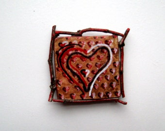 Rustic Heart Magnet, Twig Frame, Tree Branches, Home Decor, Upcycled Art, Fridge Magnet