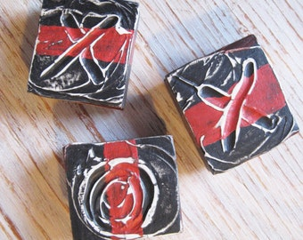 Magnets, X and O, Black Red and White, Valentine's Day, Modern Abstract, 3-D  Wood Block