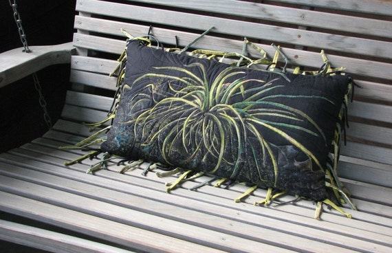 Nature Print Pillow, Black Pillow, Black and Green, Monoprint, Greenery Decor,  OOAK Textile, Art Pillow