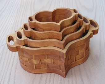 Heart Basket Set of 4 Handmade