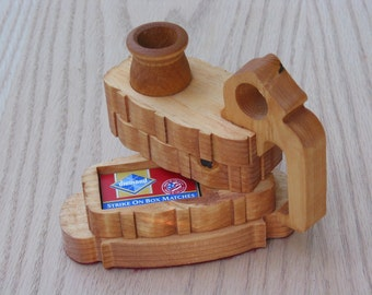 Candle Holder with a Compartment for Matches Handmade