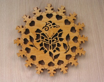 Trivet, One of a Kind Hearts, Bears, Butterfly and Rose Bud Handmade