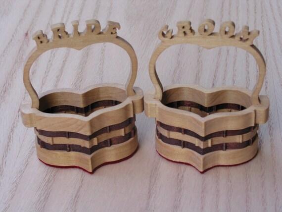 Handmade Heart Basket : Bride and groom heart baskets handmade