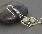 Lotus Sterling silver earrings with green pearl. Wire wrapped pearl earrings. Dangle earrings, drop earrings.
