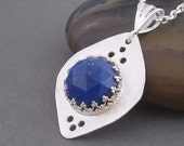 Sterling silver necklace Jasmine, with blue lapis pendant.  Sterling silver jewelry , gift for her