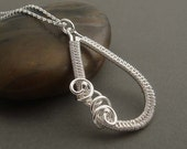 Savannah Silver necklace, wire wrapped necklace wedding jewelry. Sterling silver jewelry, gift for her