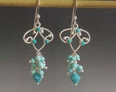 blue dangle cluster wire wrapped earrings in turquoise