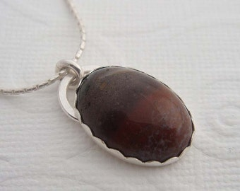 Mirage sterling silver Necklace with silver and jasper pendant. Gemstone necklace, Sterling silver jewelry