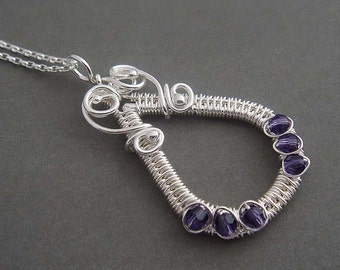 Adonia Sterling silver necklace with wire wrapped pendant with purple beads. Sterling silver jewelry