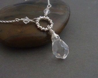 Glacier clear ice wire wrapped necklace Sterling silver