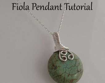 Pendant tutorial, Necklace tutorial, Fiola wire wrapped pendant - Instant download, wire wrapping tutorial, wire jewelry tutorial