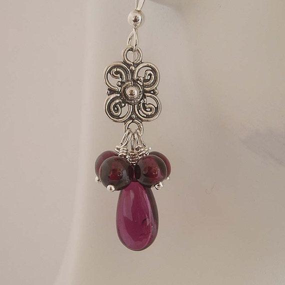 Cranberry drops silver earrings, wire wrapped , garnet earrings, chandelier earrings, January Birthstone  dangle earrings drop earrings