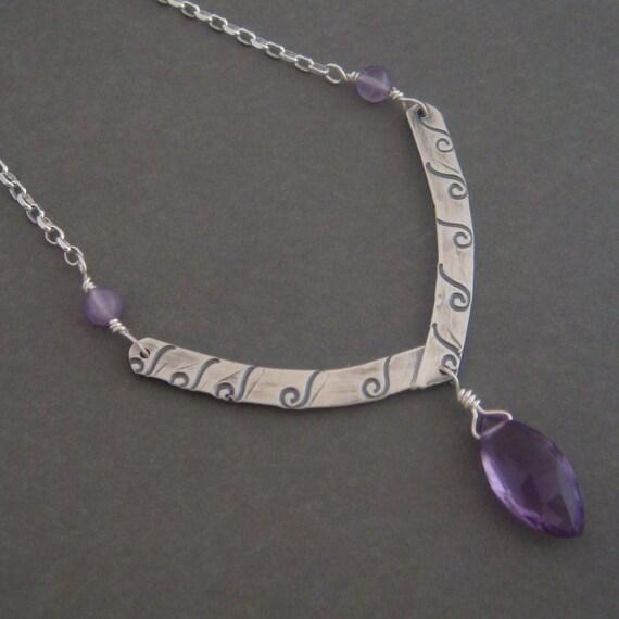 Vivianne silver Necklace , gemstone necklace, amethyst necklace, purple, handmade, Sterling silver jewelry.