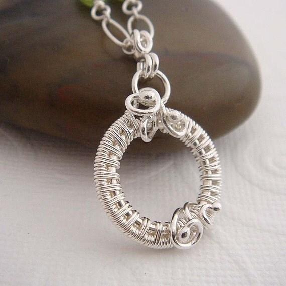 Emma Silver necklace, sterling silver, peridot necklace, gemstones necklace, green necklace. Sterling silver jewelry, circle pendant.