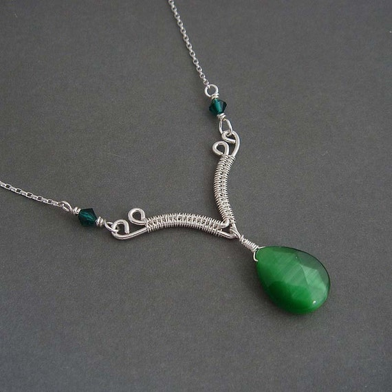 Green necklace -Kassia.Sterling silver Necklace in evergreen,  green necklace, green pendant, handmade, artisan necklace