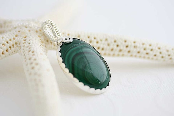 Monbassa silver Necklace ,wire wrapped necklace, green necklace, malachite pendant, gemstone necklace, perfect gift, sterling silver jewelry