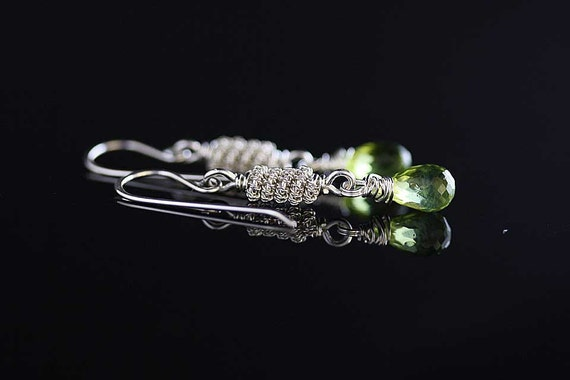 Dangle Green gemstone earrings - Swings. gemstone earrings, sterling silver earrings , peridot earrings, Green dangle earrings
