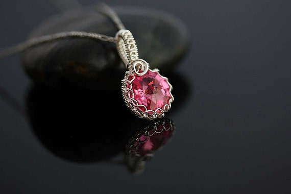 Camellia Sterling silver pink necklace, gift for her