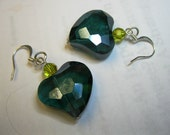 HEART earrings in teal - Beautiful chunky teal hearts, lime Swarovski accent beads,