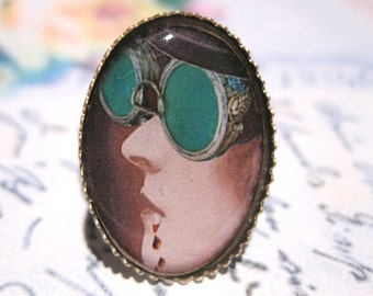 VAMPIRE Only By Moonlight Ring - vampire beauty in antiqued silver setting wearing steampunk goggles