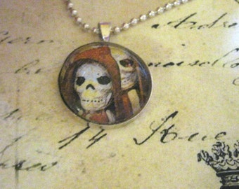 Sugar Skull Necklace Ghostly Sugar Skull Necklace - Extra spooky hooded skulls, Day of the Dead, silverplate setting, 27 inch chain