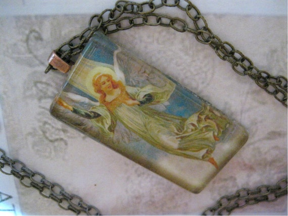 Angel Necklace, Angels Watching Necklace - glass pendant on ox brass 24 inch chain